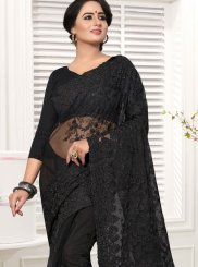 Embroidered Net Classic Designer Saree in Black