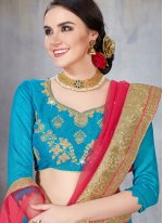 Embroidered Net Designer Lehenga Choli in Blue