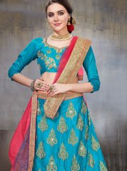Embroidered Net Designer Lehenga Choli in Blue