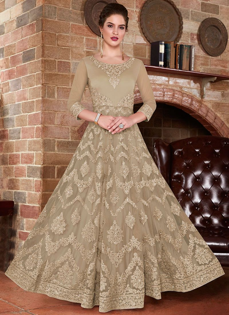 Embroidered Net Floor Length Anarkali Suit