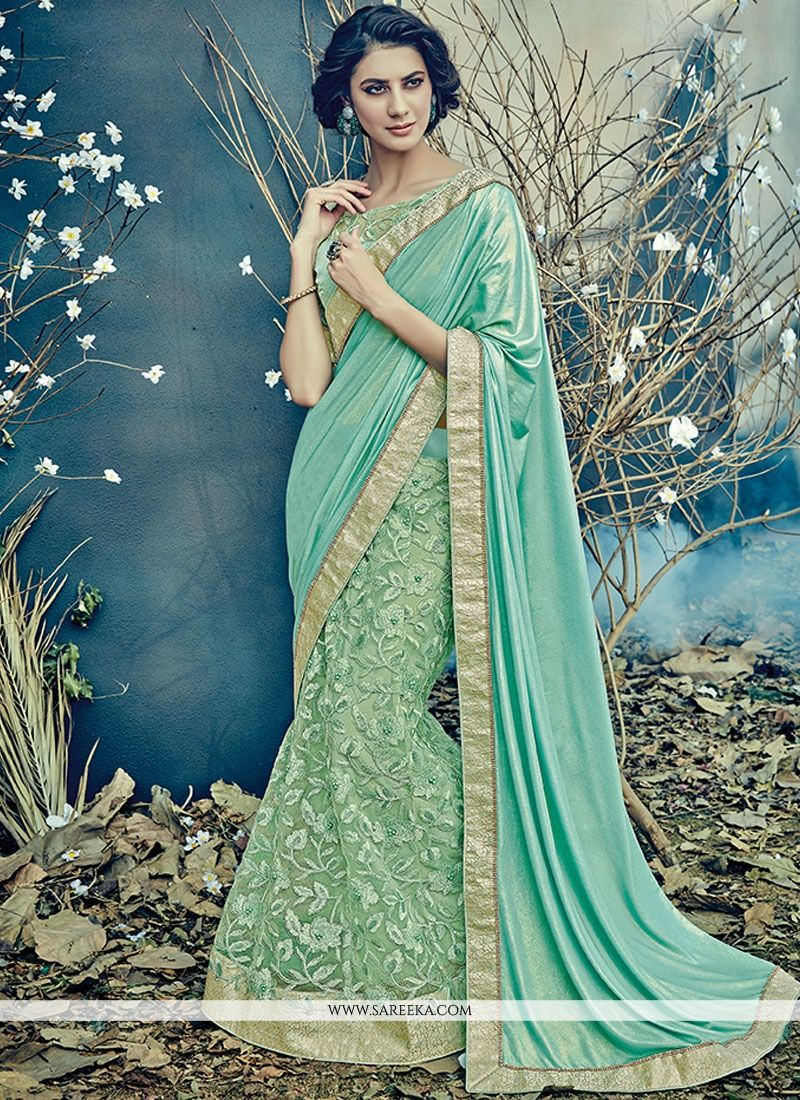 Embroidered Net Lehenga Saree in Sea Green