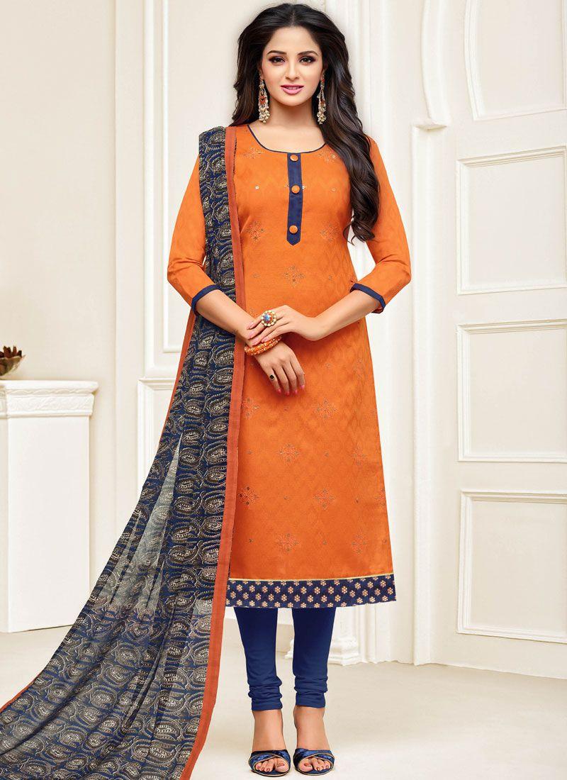 Embroidered Orange Churidar Suit