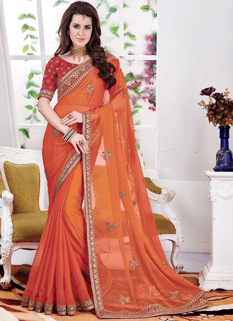 Embroidered Orange Faux Chiffon Classic Saree