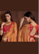 Embroidered Orange Saree