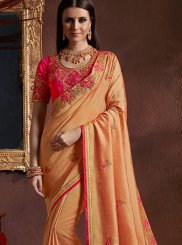 Embroidered Orange Saree