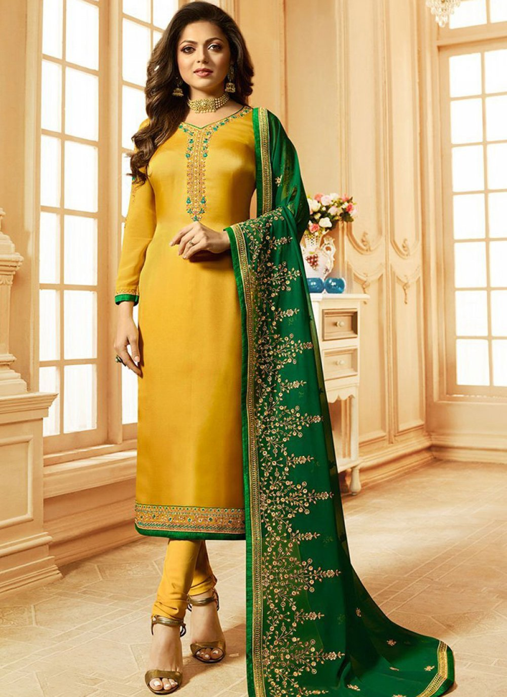 Embroidered Party Churidar Suit