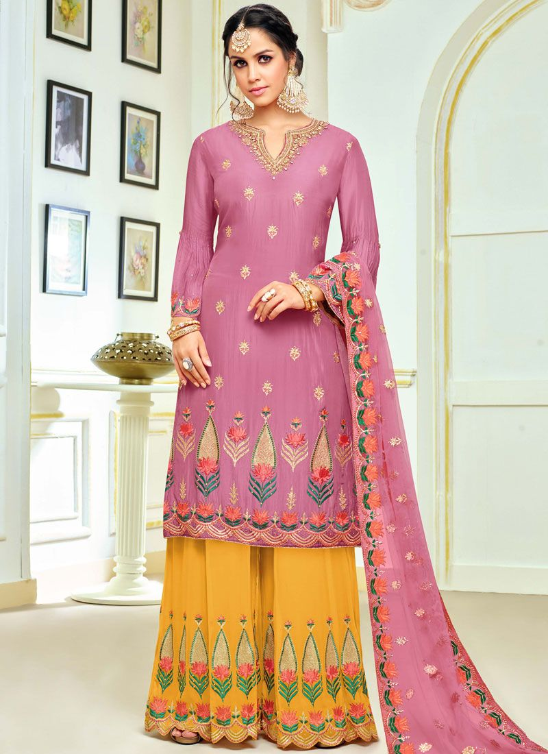 Embroidered Pink Art Silk Designer Palazzo Suit