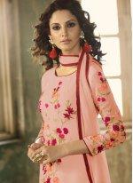 Embroidered Pink Faux Georgette Churidar Designer Suit