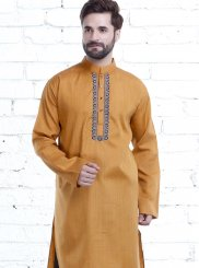 Embroidered Polyester Kurta Pyjama in Yellow