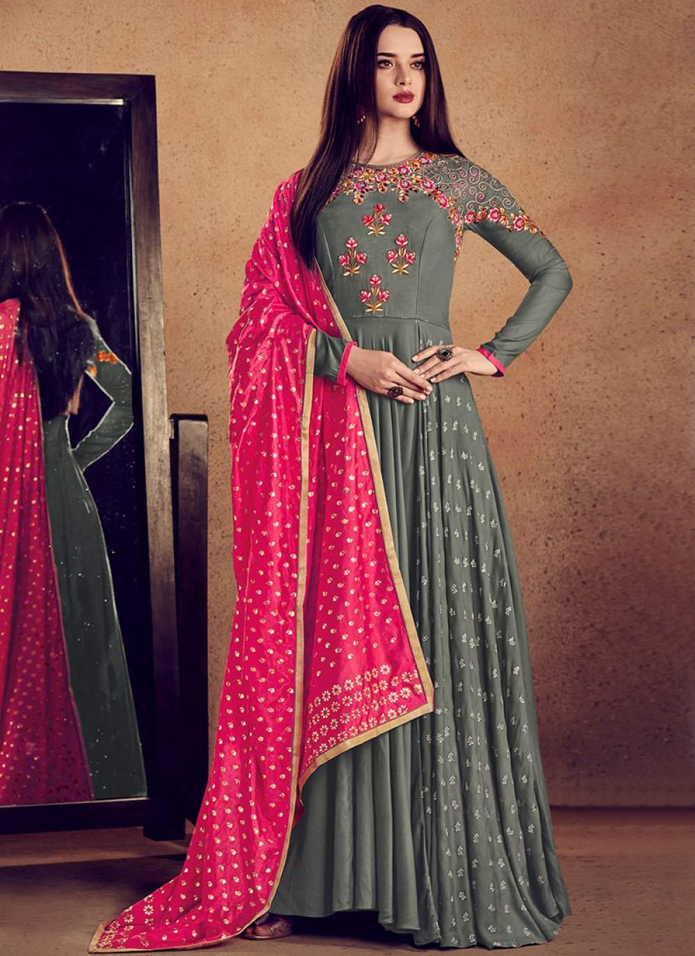Embroidered Rayon Grey Designer Gown