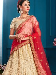 Embroidered Satin Beige Lehenga Choli