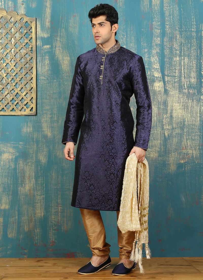 Embroidered Satin Kurta Pyjama in Navy Blue