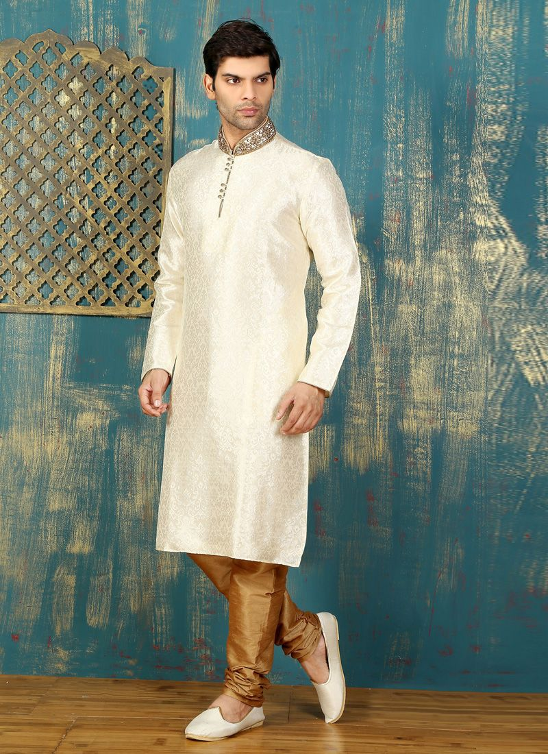 Embroidered Satin Kurta Pyjama in Off White