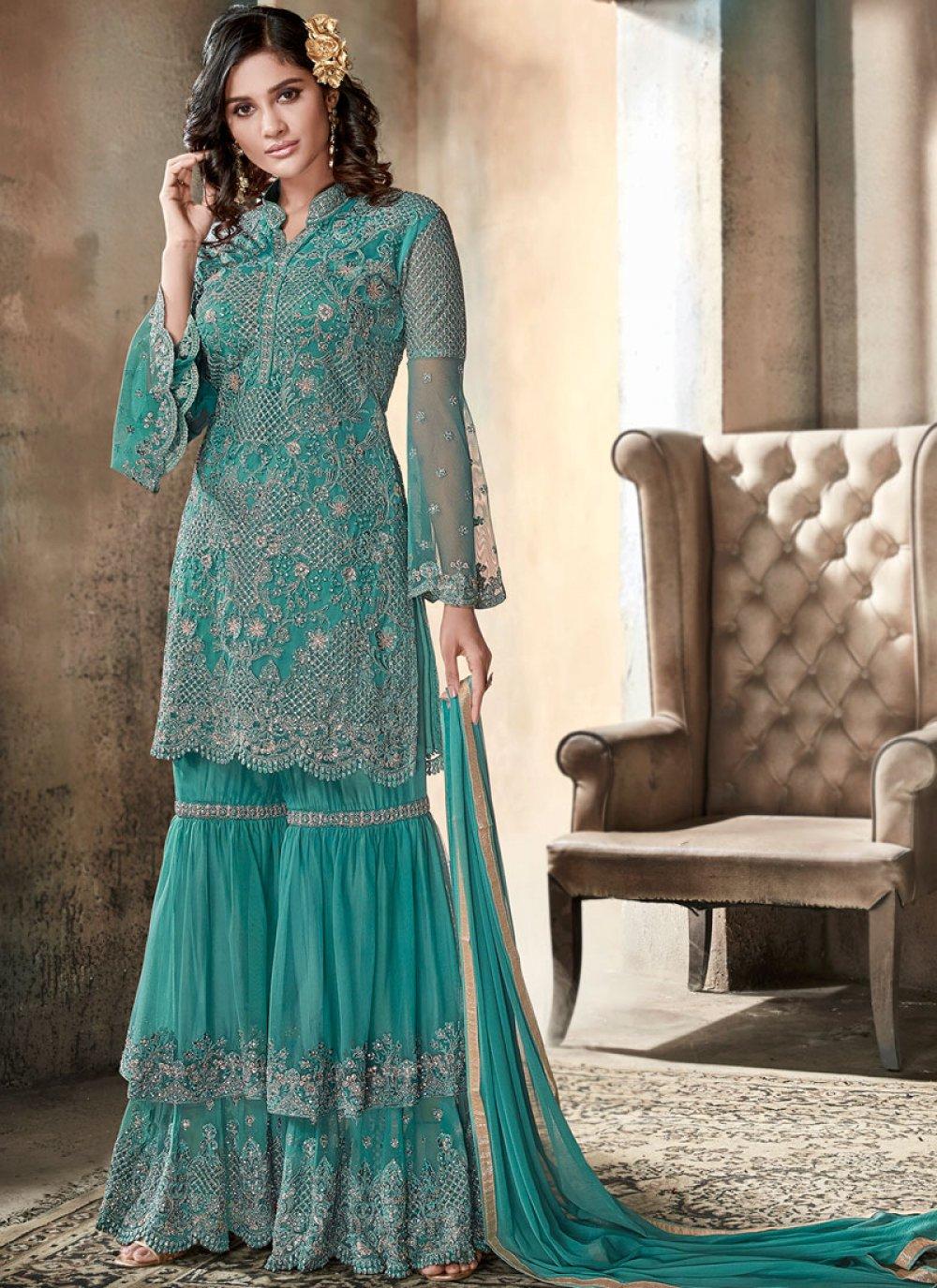 Embroidered Sea Green Net Designer Pakistani Suit