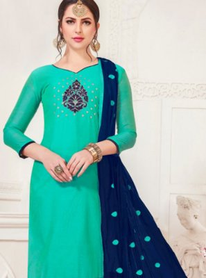 Embroidered Sea Green Silk Churidar Salwar Suit
