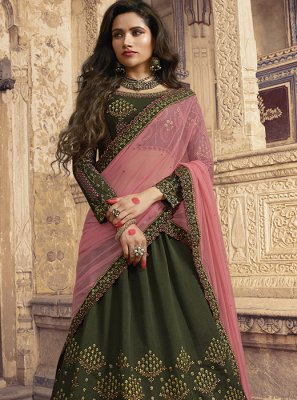 Embroidered Silk Green Trendy Lehenga Choli