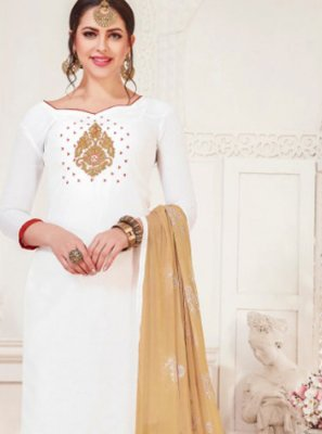 Embroidered Silk White Churidar Designer Suit