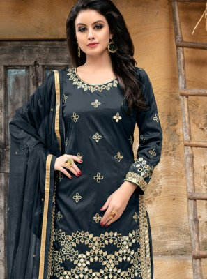 Embroidered Tafeta silk Punjabi Suit