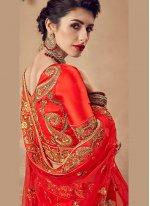 Embroidered Velvet Designer Lehenga Choli in Red