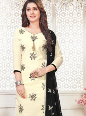 Embroidered White Cotton   Churidar Suit
