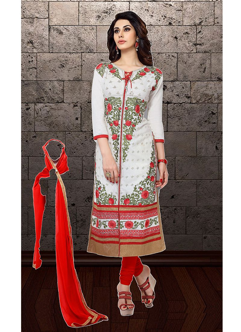 Embroidered White Cotton   Designer Straight Suit