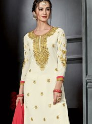 Embroidered White Designer Palazzo Suit