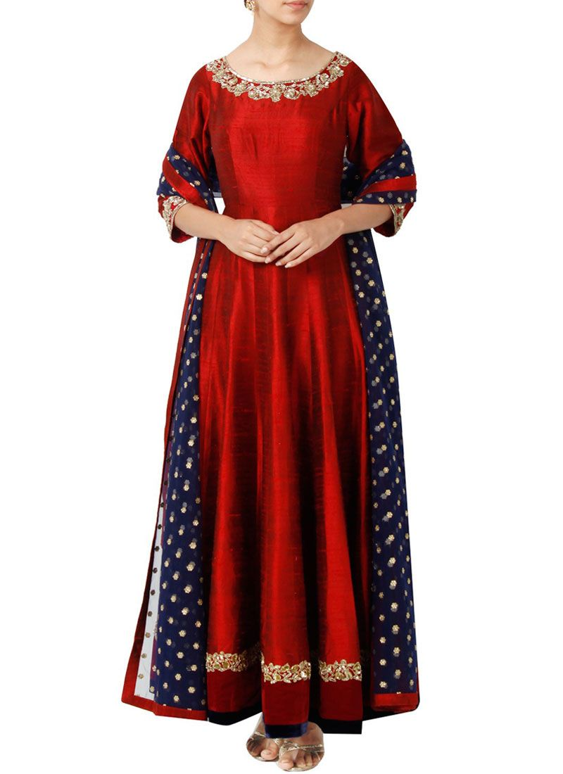Embroidered Work Art Silk Anarkali Suit
