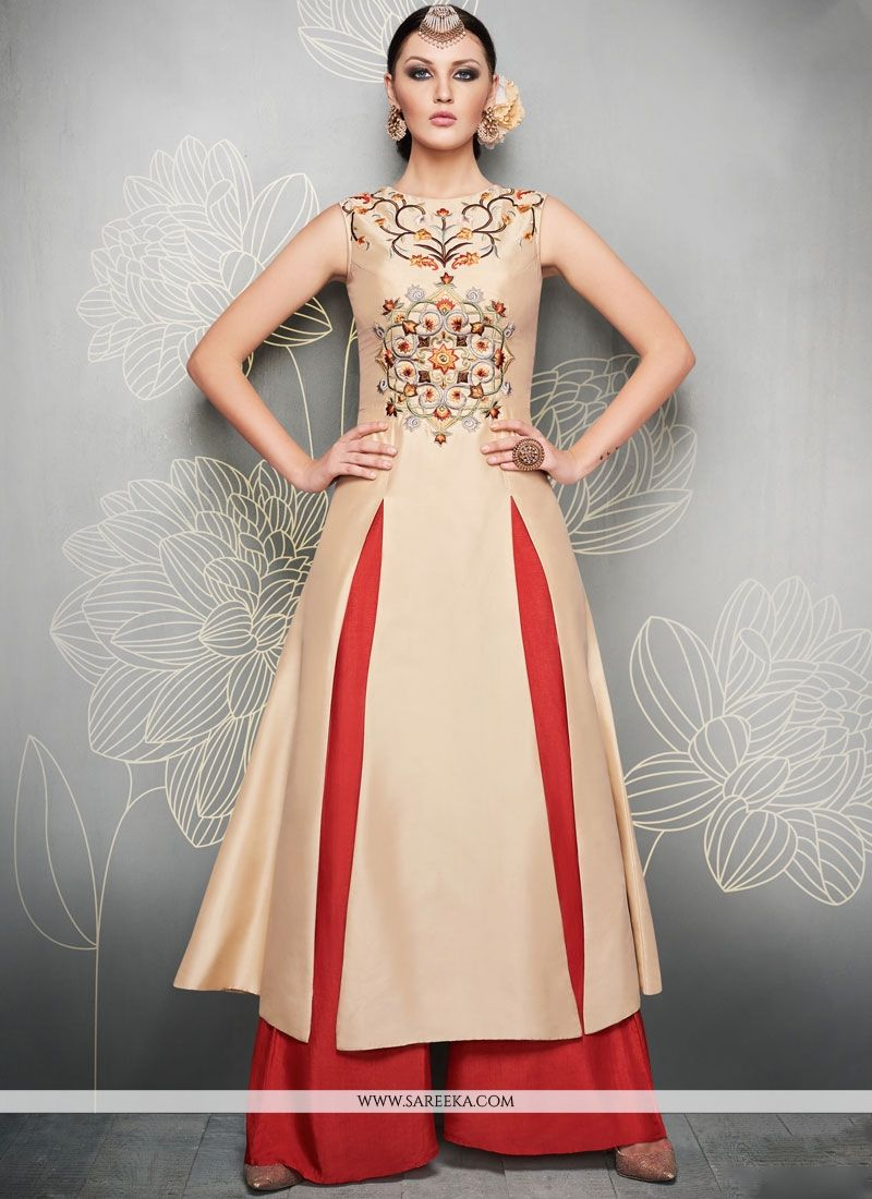 Embroidered Work Art Silk Beige Readymade Suit