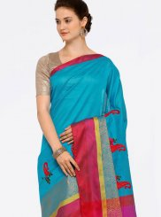 Embroidered Work Art Silk Cotton Casual Saree