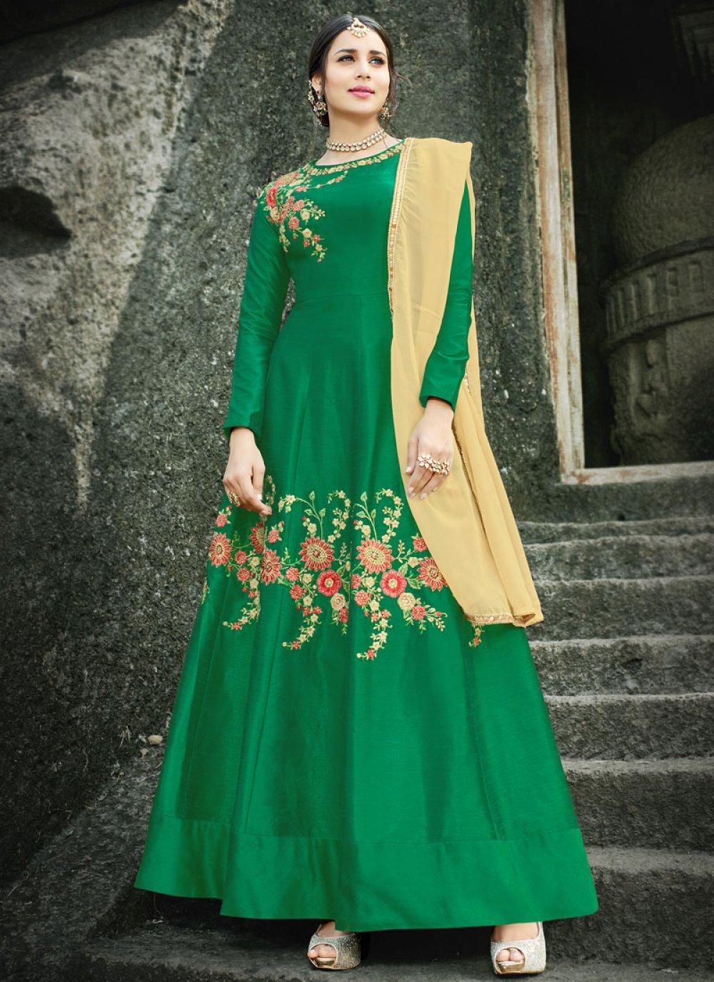 Embroidered Work Art Silk Floor Length Anarkali Suit