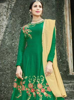 Embroidered Work Art Silk Floor Length Anarkali Suit