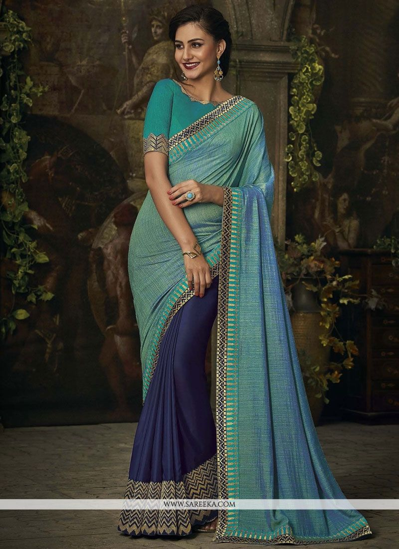 Embroidered Work Art Silk Half N Half Designer Saree