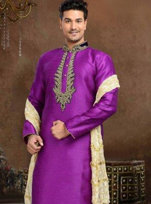 Embroidered Work Art Silk Purple Kurta Pyjama