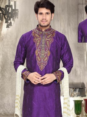 Embroidered Work Art Silk Purple Kurta Pyjama