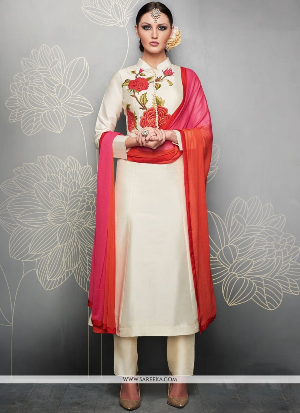 Embroidered Work Art Silk Readymade Suit