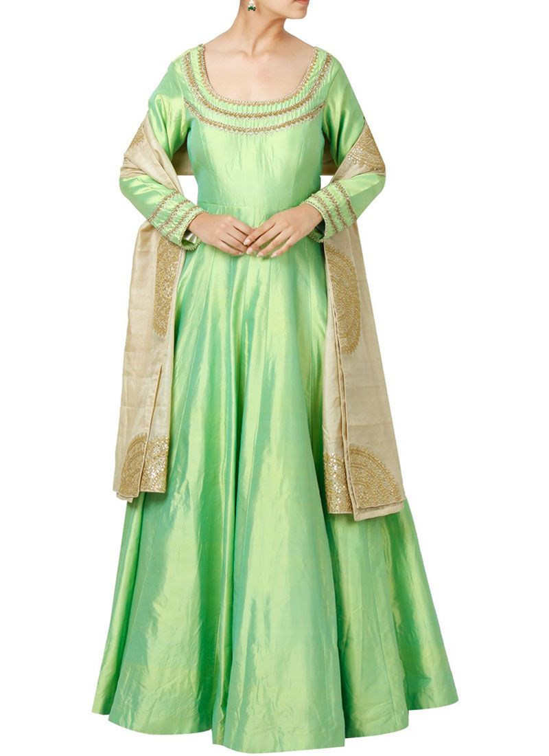Embroidered Work Art Silk Sea Green Floor Length Anarkali Suit