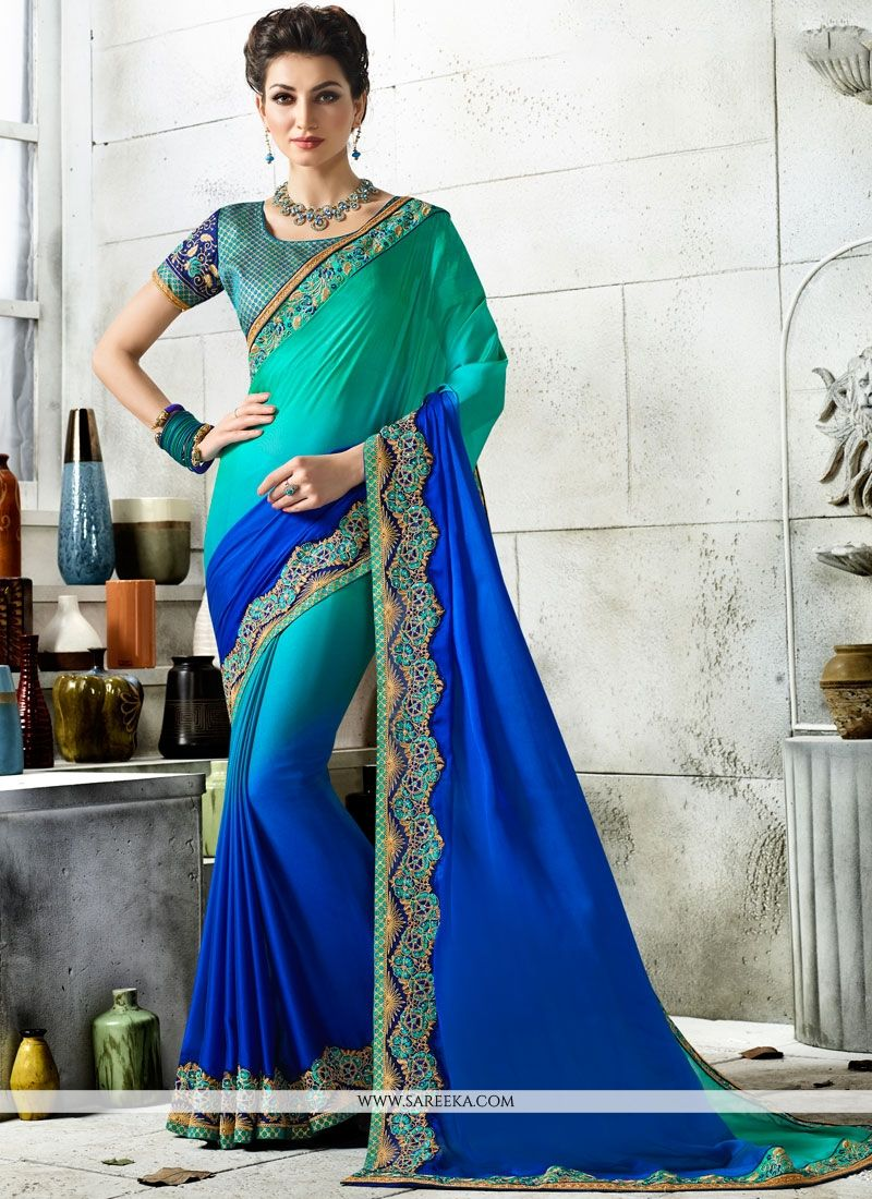 Embroidered Work Art Silk Shaded Saree