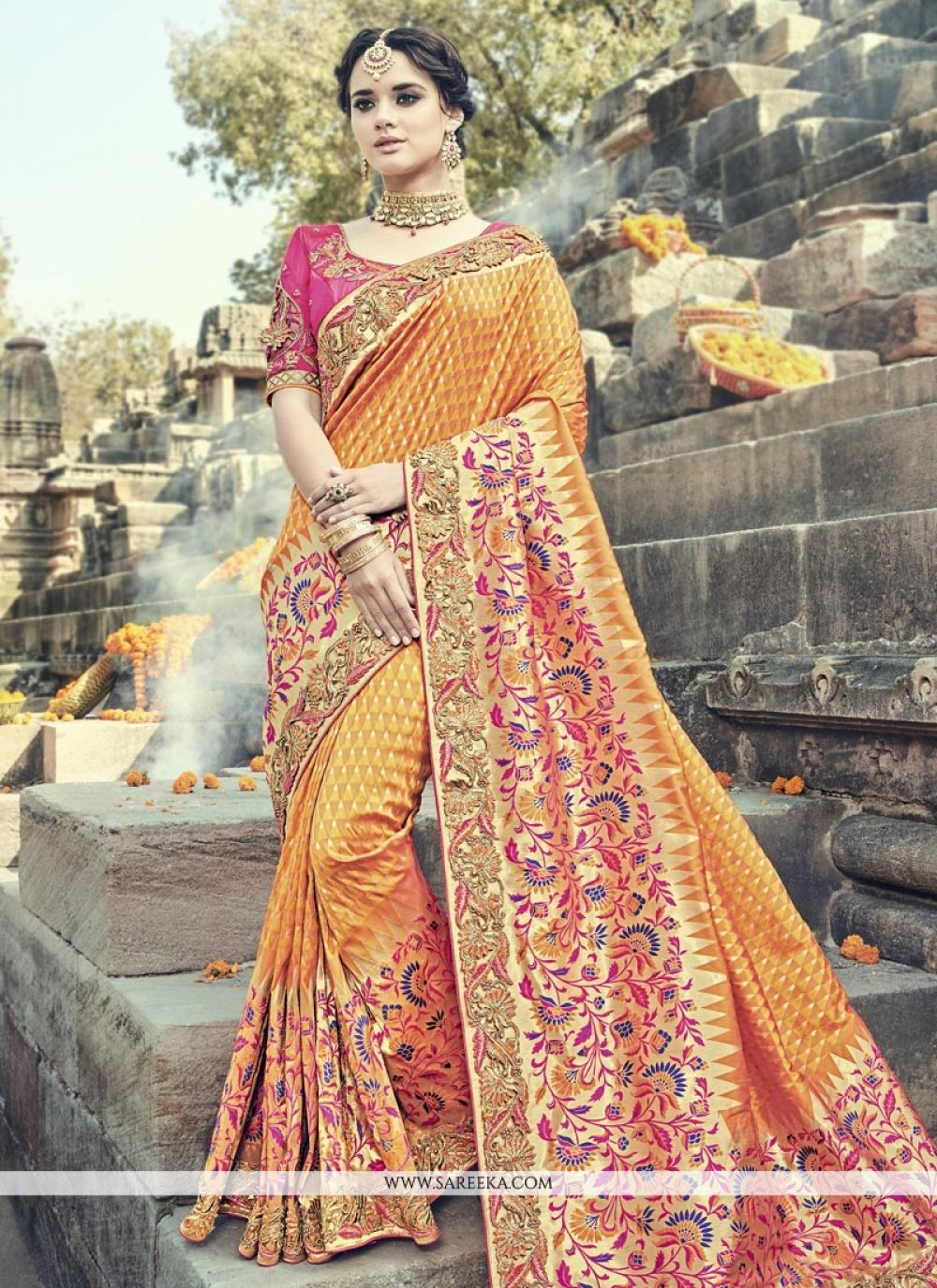 Embroidered Work Banarasi Silk Traditional Designer Saree