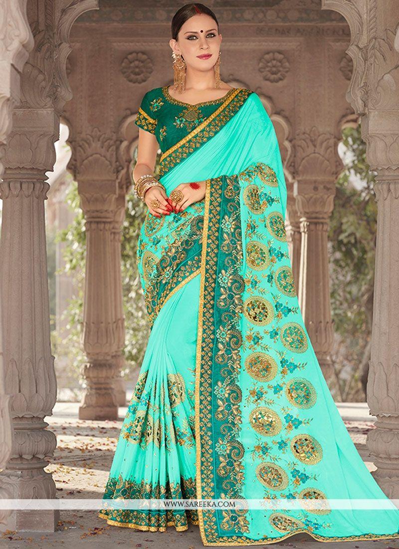 Embroidered Work Banglori Silk Designer Saree