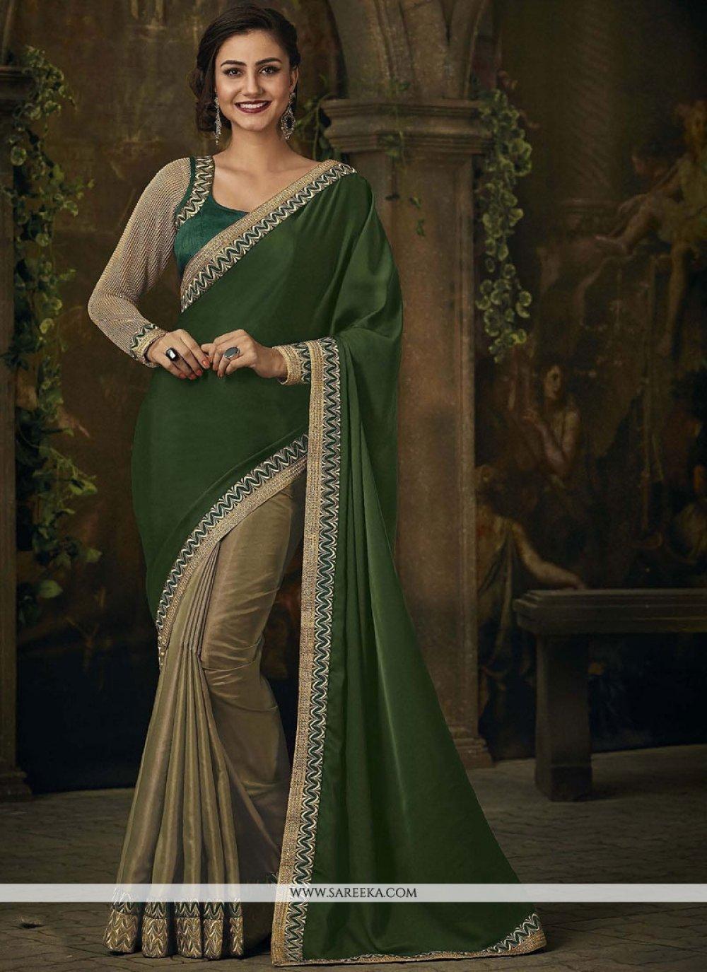 Embroidered Work Beige and Green Designer Half N Half Saree