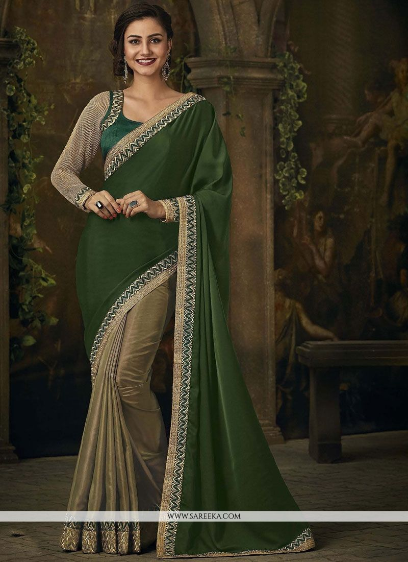 Embroidered Work Beige and Green Designer Half N Half Saree
