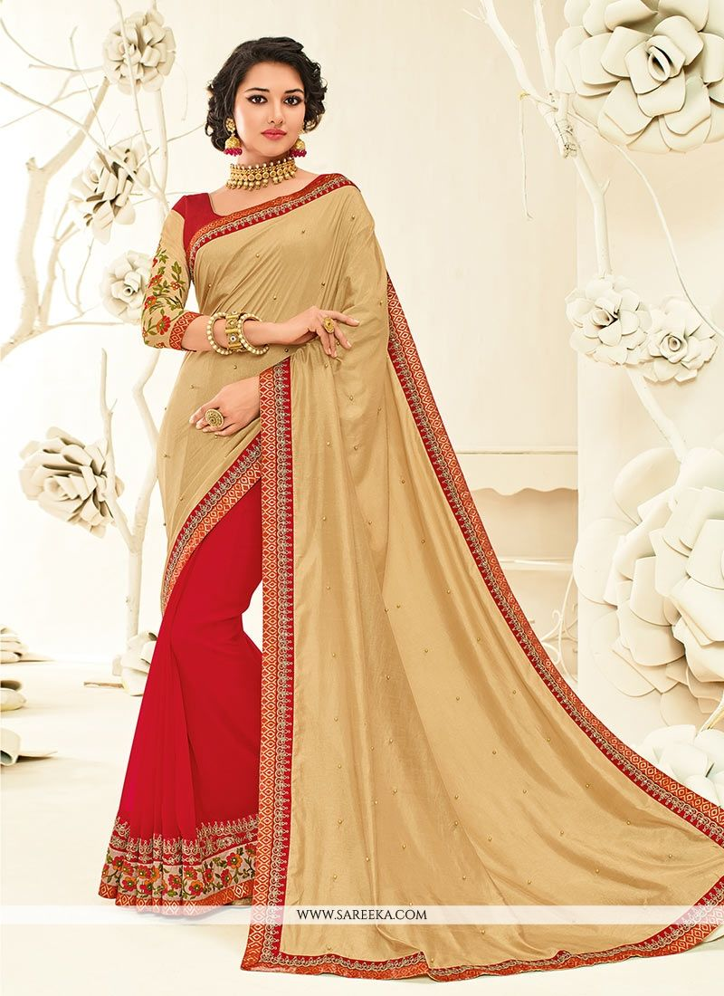 Embroidered Work Beige and Red Half N Half Designer Saree