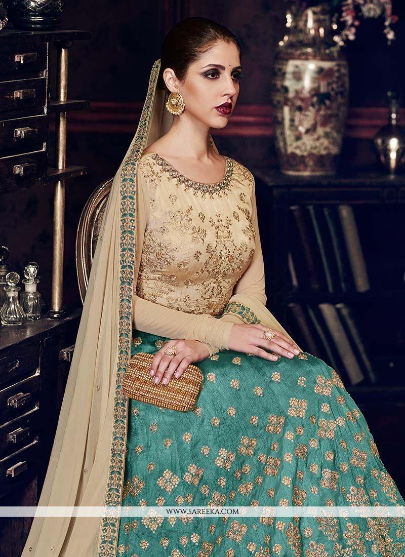 Embroidered Work Beige and Sea Green Handloom silk Floor Length Anarkali Suit