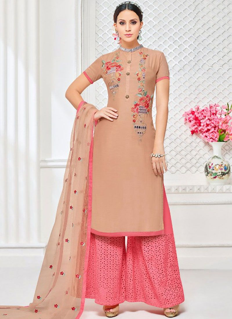 Embroidered Work Beige Art Silk Designer Palazzo Suit
