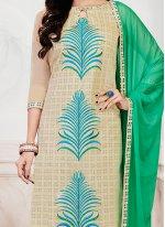 Embroidered Work Beige Chanderi Churidar Suit