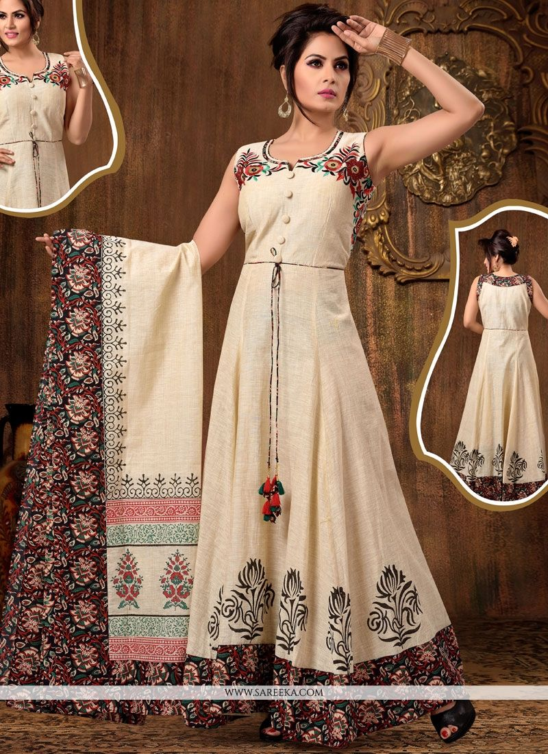 Embroidered Work Beige Chanderi Cotton Readymade Anarkali Suit