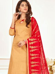 Embroidered Work Beige Churidar Suit