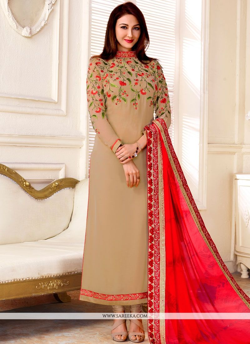 Embroidered Work Beige Designer Straight Suit