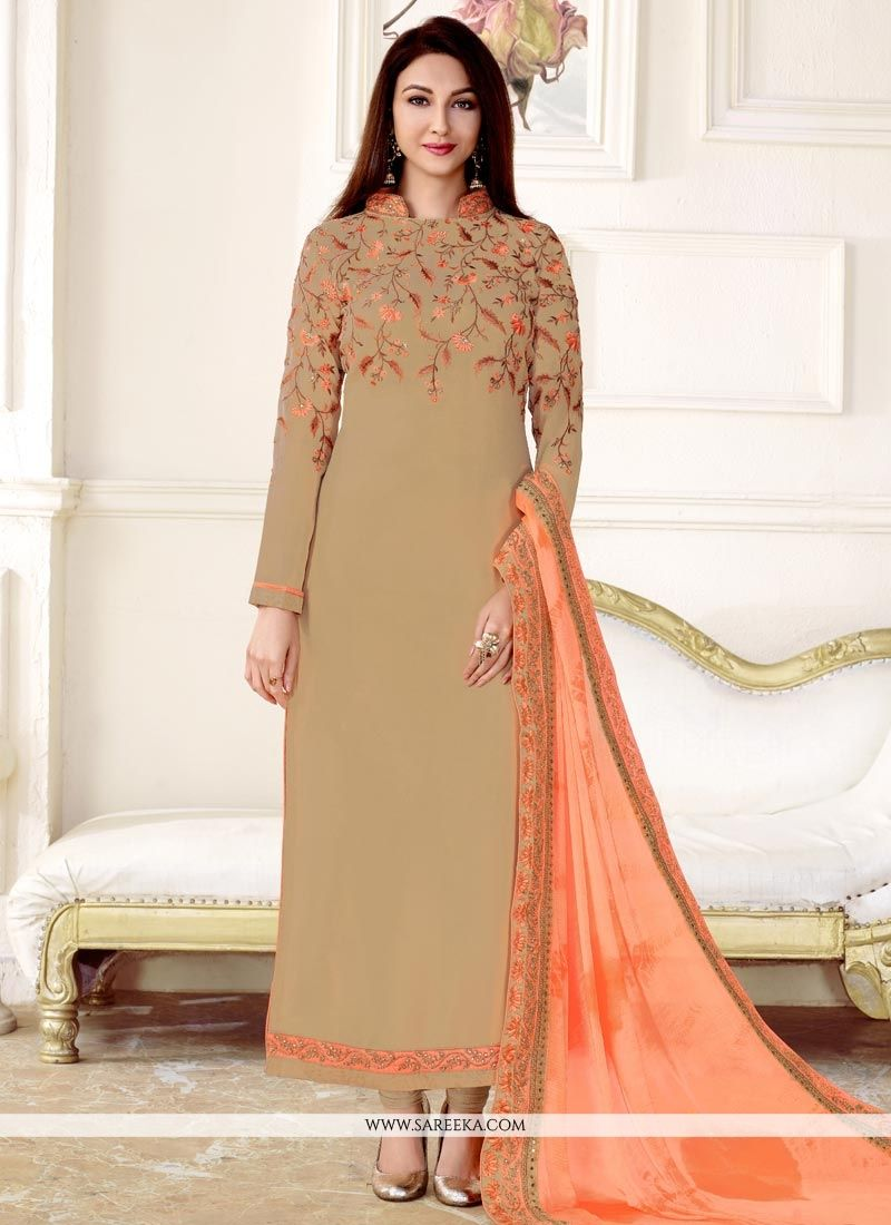 Embroidered Work Beige Faux Georgette Designer Straight Suit