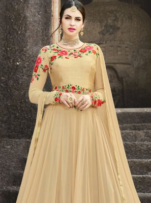 Embroidered Work Beige Floor Length Anarkali Suit